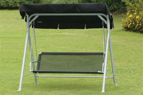 swinging seat 2 3 seater black garden swing seat hammock weatherproof