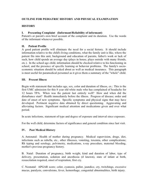 Outline For Pediatric History And Physical Examination Pediatric Physical Template