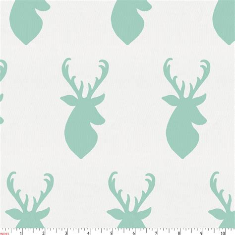 Green Crib Bedding Mint Deer Head Fabric By The Yard Green Fabric