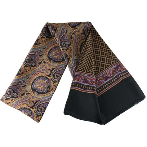 mens silk scarf gold paisley mayo style