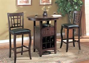 Pub Table With Wine Rack by Brown Finish Modern 3 Pc Bar Table Stools Set W Wine Rack