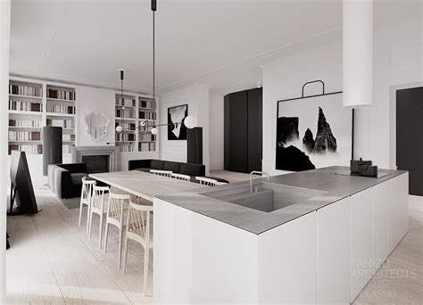 monochromatic apartment interior design in black white