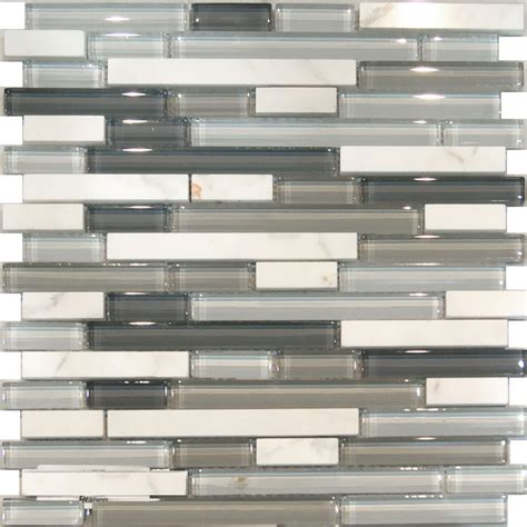Gray Glass Tile Kitchen Backsplash | sle carrara white marble gray glass linear mosaic