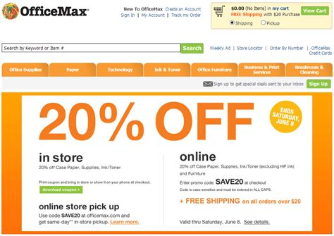 Office Max Coupon Code by Deal Alert Officemax Retail Stores Offering 20 With