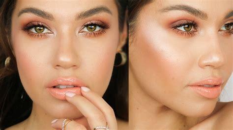 tutorial makeup peach grwm peach spring makeup tutorial jlo glow makeup abh