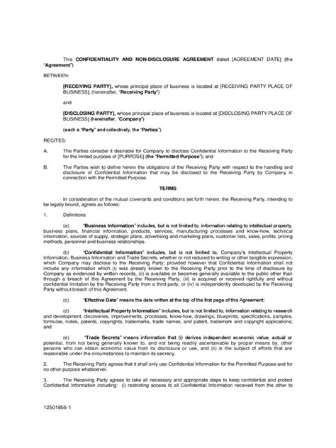 Letter Of Non Disclosure Agreement Non Disclosure Agreement Form 4 Free Templates In Pdf Word Excel