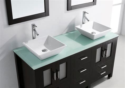 glass top vanities bathrooms virtu usa bradford 60 modern double sink bathroom vanity