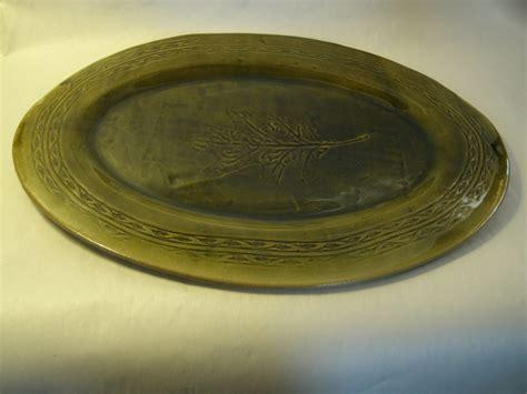 Handmade Pottery Platters - handmade pottery platter plate green leaf design