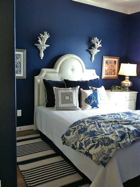 navy dark blue bedroom design ideas pictures master