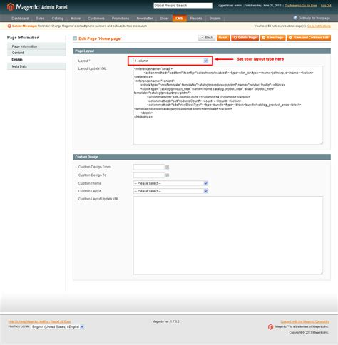 magento homepage layout xml change homepage to 1column phtml in local xml in new theme