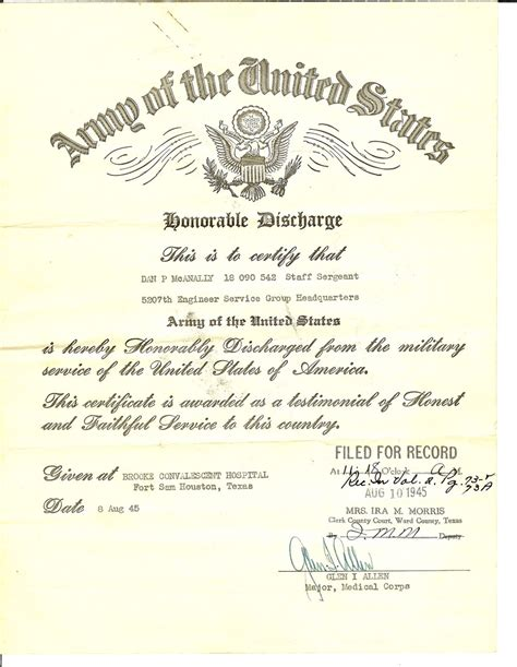 documents honorable discharge certificate us army for dan