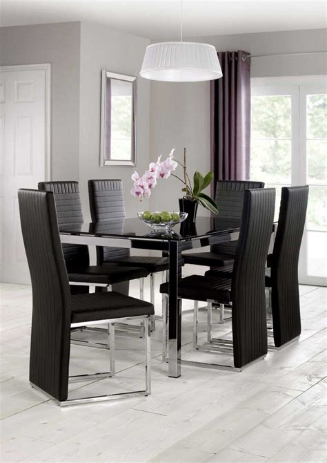Black Glass Dining Table Set Tempo Dining Table Black Glass With 6 Black Pu Chairs Blue Interiors