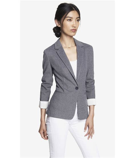 express knit blazer lyst express 24 inch textured knit blazer in gray