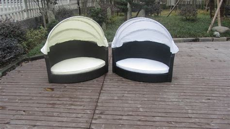 all weather garden black wicker pet bed with kd white canopy