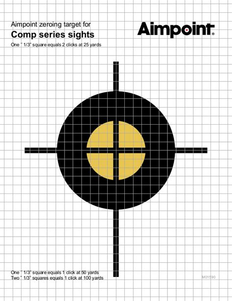 printable targets for zeroing aimpoint zeroing target for comp sights optics trade