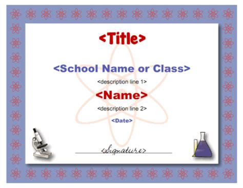 science certificate template
