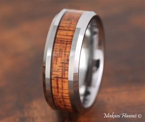 Tungsten Koa Wood Inlaid Mens Wedding Band 8mm   Makani