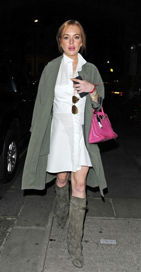 Lindsay Lohan In A White Dress by Lindsay Lohan In White Mini Dress 06 Gotceleb
