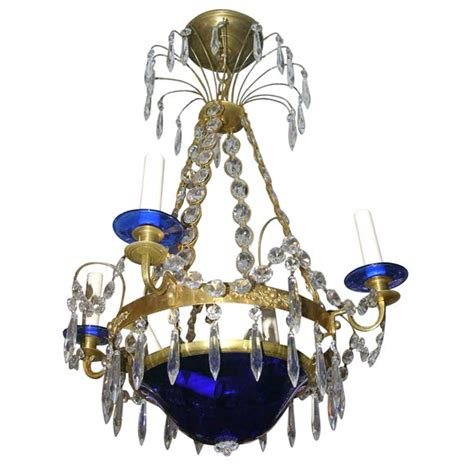 Bobeches For Chandeliers Swedish Chandelier With Cobalt Blue Glass Base And Bobeches At 1stdibs