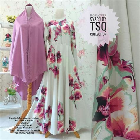 Gamis Set Anak Cewe Syari by Gamis Syar I Cantik B101 Big Flower Model Baju Muslim Modern