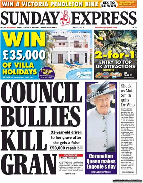 express page papers front pages today uk