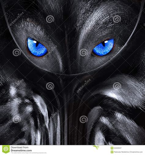 5 11 Black Wolf Brown wolf with blue abstract illustration stock