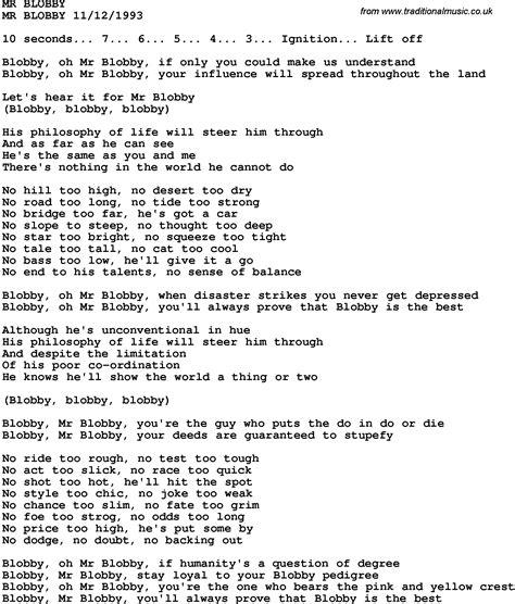 lyrics mr novelty song mr blobby lyrics