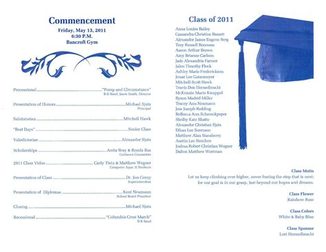 Graduation Program Template Lisamaurodesign Free Personal Program Template