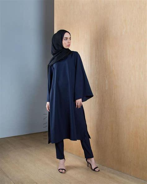 Indian Kulot 9 inayah navy kimono abaya with splits black georgette
