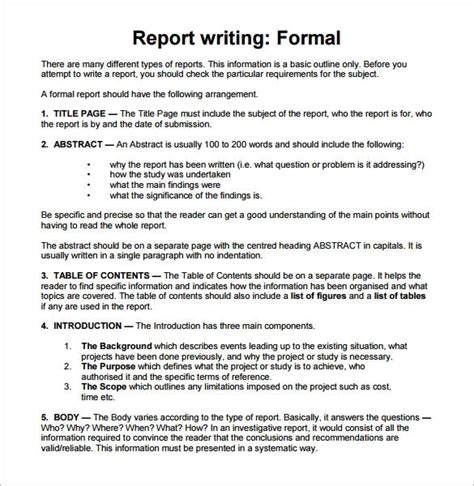 writing business reports template sle report writing format 46 free documents in pdf