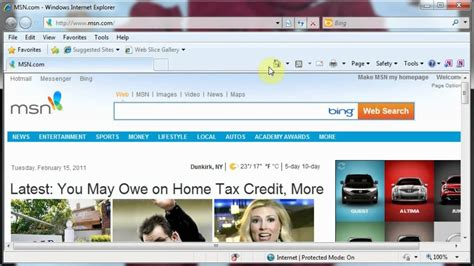 customize your homepage in explorer 6 7 and 8