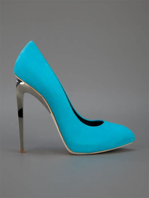 Cerelia Silver Shoes lyst giuseppe zanotti pointed toe in blue