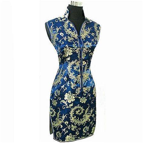 Helga Cheongsam Top Navy Blue aliexpress buy navy blue traditional