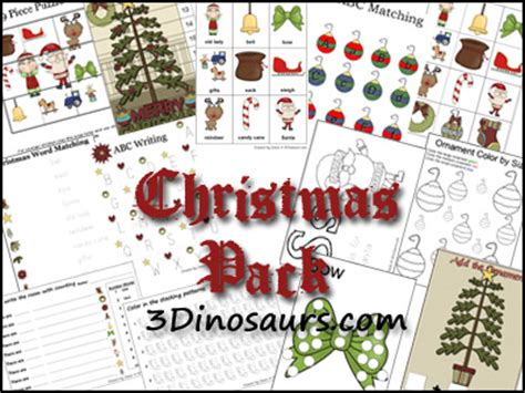 3 dinosaurs christmas pack