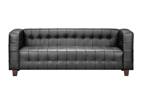 button sofa with italian leather and solid wood legs prime
