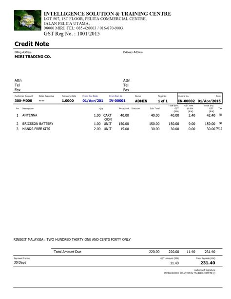 Credit Note Format Gst Malaysia Gst Istc