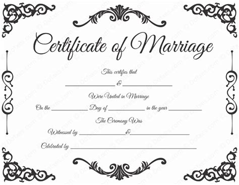 printable marriage certificate template traditional corner marriage certificate template dotxes
