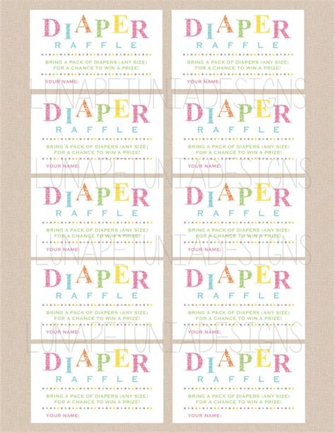 search results for free diaper raffle ticket template