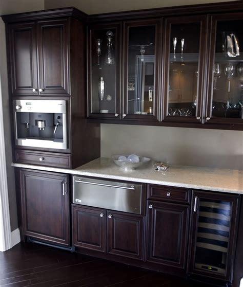 Espresso Kitchen Pantry espresso cabinets kitchen kitchen transitional with corner