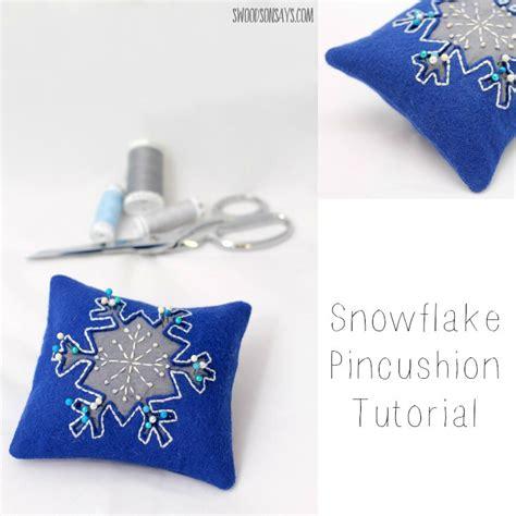 snowflake pattern to sew embroidered reverse applique snowflake pincushion tutorial