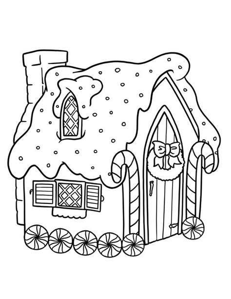 coloring pages of christmas houses free printable gingerbread house clip art 36