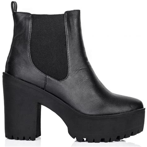 buy seductive heeled platform chelsea ankle boots black