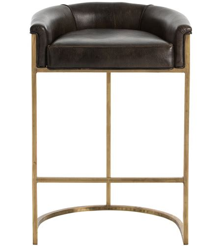 35 Inch Bar Stools by Arteriors 2803 Calvin 35 Inch Brindle Leather Antique Brass Bar Stool
