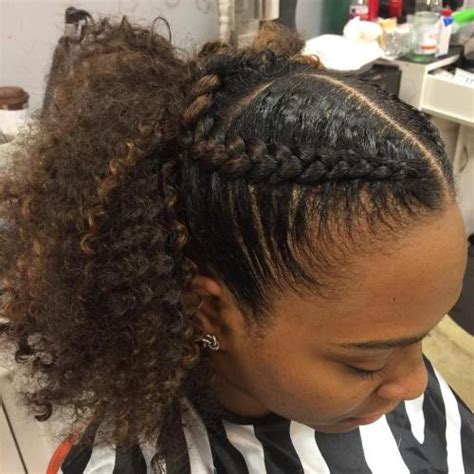 cornrows with hair out in back 30 classy black ponytail hairstyles