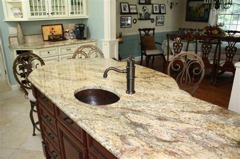 Kitchen Island Granite Countertop Yellow River Granite Counter Tops Traditional Kitchen