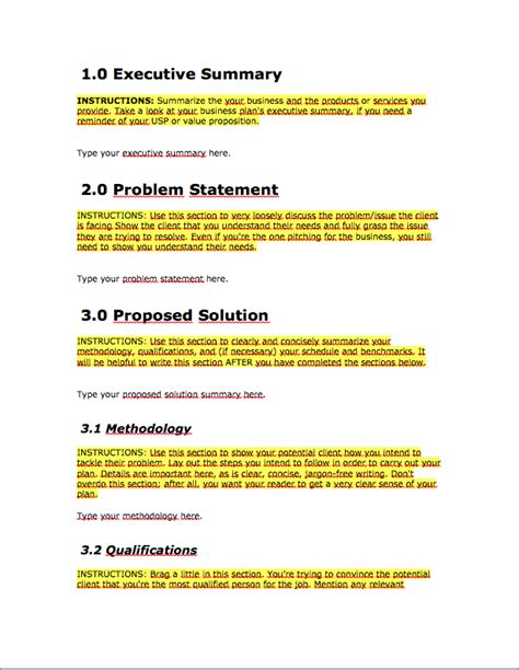 key parts of business proposal template roiinvesting com