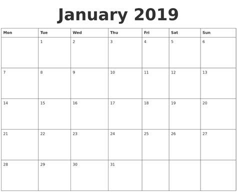 blank calendar template january january 2019 blank calendar template