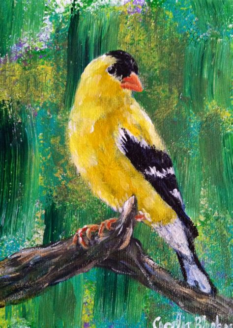 acrylic painting etsy yellow bird original acrylic painting by ceceliablenkerart