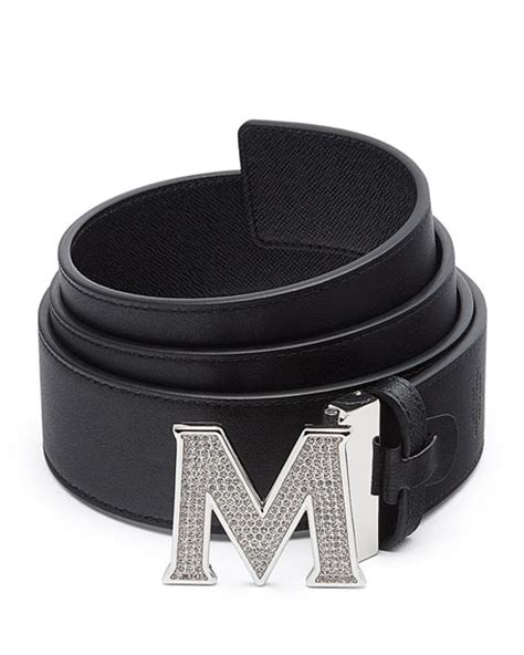 mcm s be jeweled m buckle leather belt