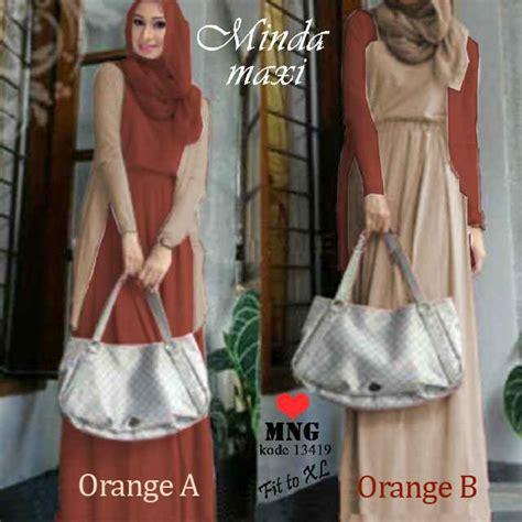 Baju Muslim Leony 3in1 Gamis Set baju gamis minda maxi 3in1 orange busana muslim remaja
